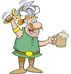 Cartoon viking holding a sword and a mug vector