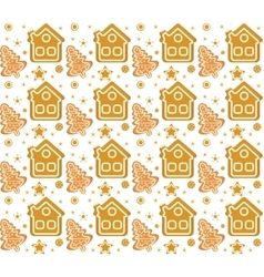 Christmas seamless background with gingerbread vector image