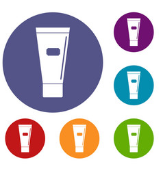 Cosmetic tube of cream or gel icons set vector