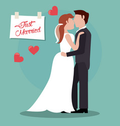 Couple just married together vector