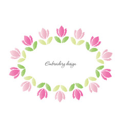 floral oval frame embroidered tulips isolated on vector image vector image