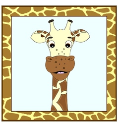 Giraffe portrait in giraffe frame vector image vector image