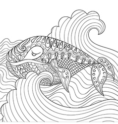 Hand drawn whale in the waves for antistress vector image
