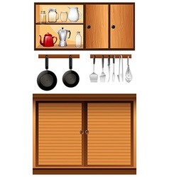 Kitchen appliances and cabinets vector