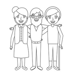 old man with women grandparents embraced together vector image