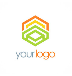 Polygon geometry color business logo vector
