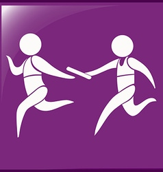 Relay running icon on purple background vector image vector image