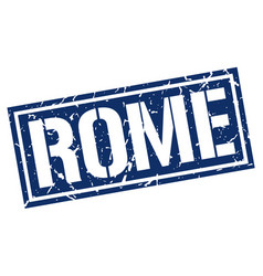 Rome blue square stamp vector