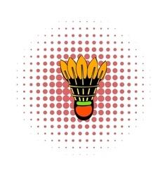 Shuttlecock icon comics style vector image