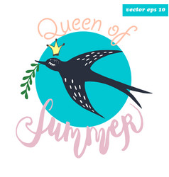 Swallow bird with branch vector