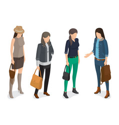 women collection of model in modern autumn apparel vector image