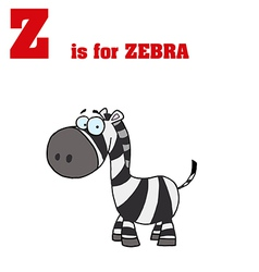 Zebra cartoon with letter vector image vector image
