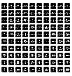 100 photo icons set grunge style vector