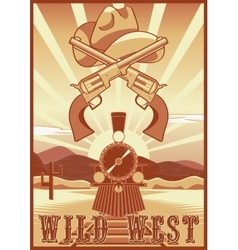 Wild west vintage card or poster with desert vector