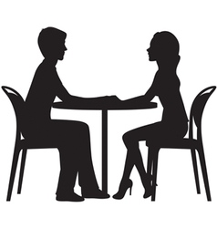 Silhouette of lovers on a date in the cafe vector image