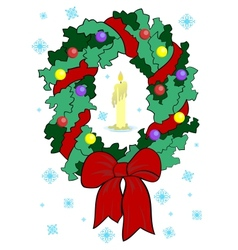 Christmas wreath with candle vector