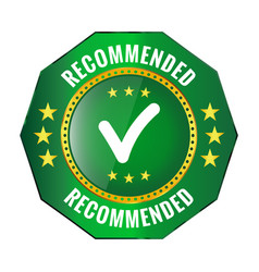 Recommended green badge vector