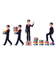 businessman carrying folders success winning vector image