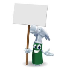 hammer mascot holding sign vector image