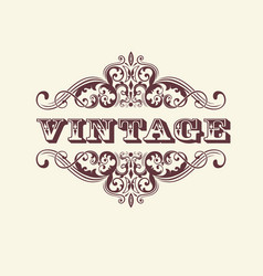Vintage styled sign with floral vector
