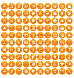 100 viral marketing icons set orange vector image