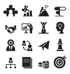 The way to success icons set vector