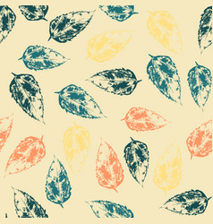 Seamless pattern with leaves on warm background vector