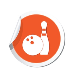 Bowling icon orange sticker vector