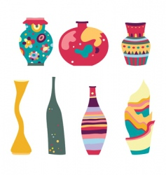 Decorative vases vector