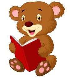 Cute bear cartoon reading vector image