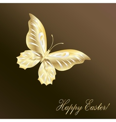 Gold lace butterfly on chocolate background vector