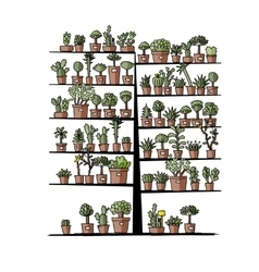 Art tree with plants in pots sketch for your vector