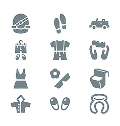 Clothing and trip icon set gray vector