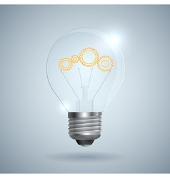 Lightbulb with gear sign on a light background vector