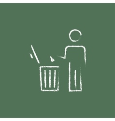 Man throwing garbage in a bin icon drawn chalk vector
