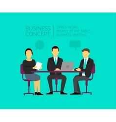 Two men and woman at the desk business meeting vector