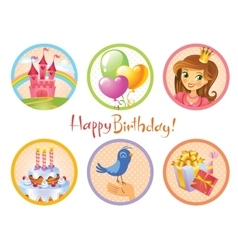 Cute birthday stickers vector