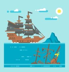 Flat design pirate shipwreck vector image