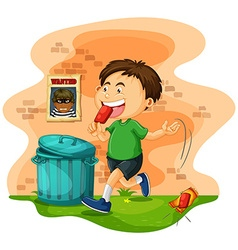Boy throwing icecream bag on the ground vector