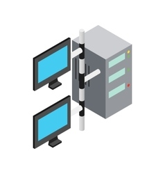 Computer network icon isometric 3d style vector