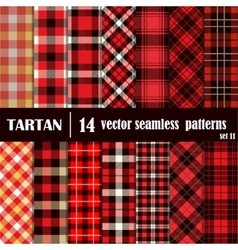 Set tartan seamless pattern in red colors vector