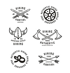 Viking emblems in hand drawn style vector