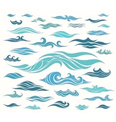 Waves set of elements vector