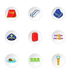 Airport icons set cartoon style vector