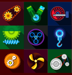 auto parts icons set flat style vector image vector image