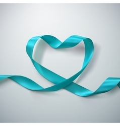 Azure ribbon heart vector