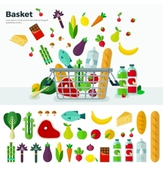 Basket with vegetables banner and icon set vector