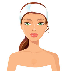 beautiful young woman perfect face with towel ski vector image
