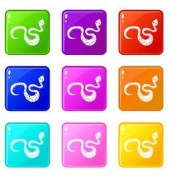 Black snake icons 9 set vector
