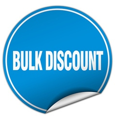 Bulk discount round blue sticker isolated on white vector